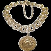 SALE Vintage Triple Link Charm Bracelet Gold Filled & Graduation Charm