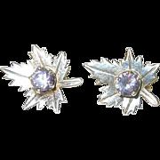 SALE Vintage Sterling & Amethyst Earrings Maple Leaves