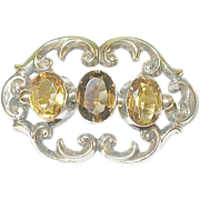 SALE Victorian Citrine Brooch Gold Filled 1870's