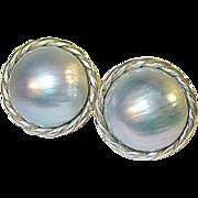SALE Vintage Sterling Fresh Water Grey Mobe Pearl Earrings
