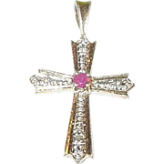 SALE Sterling & Vermeil Cross Pendant with Ruby