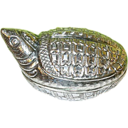 SALE Vintage Oriental Sterling Pill Bill Box Turtle Design