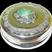 SALE Vintage Sterling Pill Box Malachite Cabochon