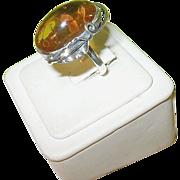 SALE Vintage Sterling Large Honey Amber Ring Silver Calla Lily Design