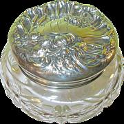 SOLD Art Nouveau Sterling & Cut Crystal Large Vanity Jar.