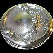 SALE Art Nouveau Sterling Vanity Jar Lid Repousse Woman's Figure