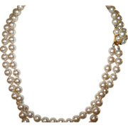 SALE Vintage Double Strand Faux Pearl Necklace by Marvella
