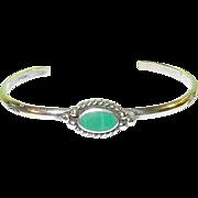 SALE Vintage Sterling & Malachite Cuff Bracelet