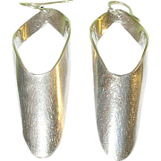 SALE Vintage Sterling Drop Earrings Modernist Design