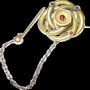 SALE Victorian Rolled Gold & Garnet Love Knot Brooch