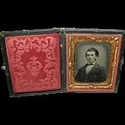 SALE Daguerreotype & Gutta Percha Frame Young Man