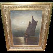 "SALE Wesley Webber (1839-1914). Oil on Canvas ""Moonlight on Long Island Sound"""