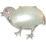 SALE Vintage Sterling Marcasite & Mother of Pearl Chick Brooch