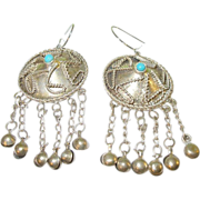 SALE Vintage Coin Silver 800 Drop Earrings