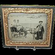 SALE Antique Tintype Wagon Children & Goat