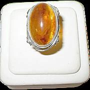 SALE Vintage 9K European Cabochon Amber Ring Open work
