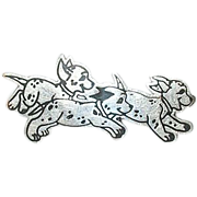 SALE Vintage Brooch Sterling 3 Dalmatian Puppies