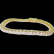 SALE Vintage Sterling & Vermeil Tennis Bracelet Pink Glass Stones