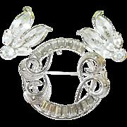 SALE Vintage Sterling & Rhinestone Brooch/Pendant & Earring Set