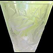 """SALE Vintage Lalique Vase 9 1/4"""" Frosted Rose Design"""