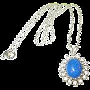 SALE Vintage Sterling Pendant Blue Lapis & Faux Diamonds