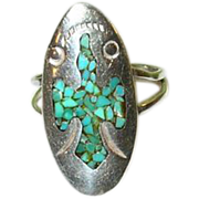 """SALE Vintage Sterling & Turquoise Ring Bird Design by """"S"""""""