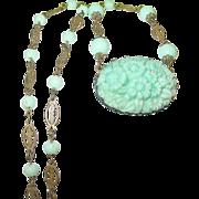 SALE Vintage Link Necklace & Pendant Peppermint Green Glass 1930's