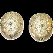 SALE Vintage Gold Wash Earrings Faux Diamonds & Faux Sapphires