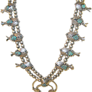 SALE Vintage Sterling & Turquoise Squash Blossom Double Naja Necklace Early 20th Century