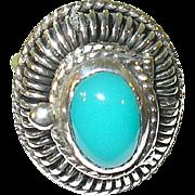 SALE Vintage Sterling & Turquoise Adjustable Poison Ring