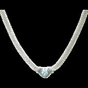 SALE Vintage Sterling Mesh Necklace Heart Pendant