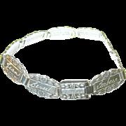 SALE Vintage Sterling Link Bracelet Forget-Me-Not