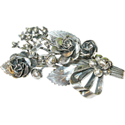 SALE Vintage Sterling Hobe Rose & Bow Brooch