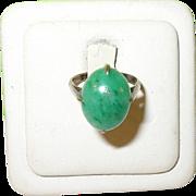 SALE Edwardian Sterling & Vermeil Cabochon Jade Ring