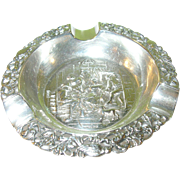 SALE Vintage Coin Silver 830 Repousse Ash Tray Holland
