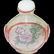 SALE Vintage Peking Glass Snuff Bottle Reverse Painting
