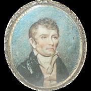 SALE Antique Miniature Oil Portrait Gold Filled Case Frame 1795-1820