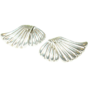 SALE Vintage Sterling Earrings Modernist Design