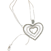 SALE Vintage Sterling Necklace & Lg Heart Pendant Marcasite & Faux Diamonds