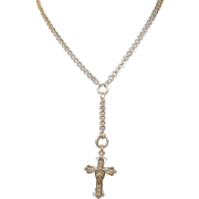 SALE Victorian Gold Filled Necklace & Cross Pendant 1870