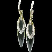 SALE Vintage 10K Diamond & Black Onyx Drop Earrings