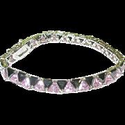 SALE Vintage Sterling Link Bracelet Black & Pink Faceted Glass Stones