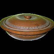 SALE Antique Treenware Large Bowl & Lid