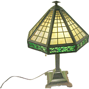 SALE Bradley & Hubbard Arts & Crafts Table Lamp Slate Glass Shade
