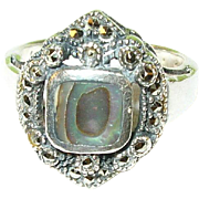 SALE Vintage Sterling Ring Abalone & Marcasite