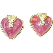 SALE Vintage Roxanne Assoulin Earrings Heart Shaped