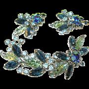 SALE Vintage Brooch & Earrings Blue Aurorea Borealis Rhinestone Set