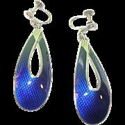 SALE Vintage Sterling & Blue Enamel Drop Earrings by J Tostrup Norway