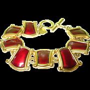 SALE Vintage Anne Klein Red Enamel Link Bracelet