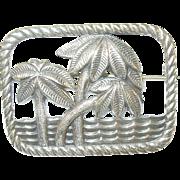 SALE Vintage STerling Brooch Palm Trees & Ocean